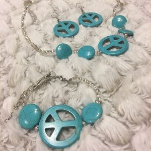 Aqua peace jewlery full 4 piece set